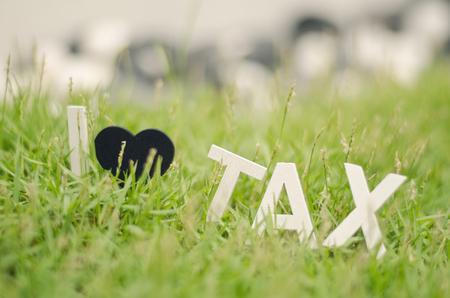 balanced budget: blurred image concept closeup white wood alphabet i love tax. black love symbol on green grass