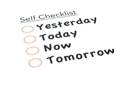 satisfactory: self checklist isolated white background