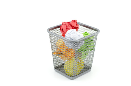 thrash: colorful used and crumple paper on thrash can. isolated white background Stock Photo