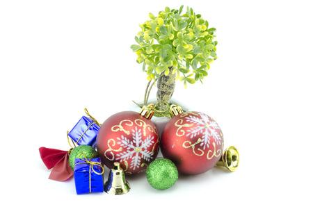 festive pine cones: christmas decoration isolated on white background Stock Photo