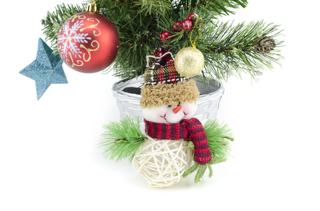 fabrick: christmass tree decoration with santa claus isolated on white background Stock Photo