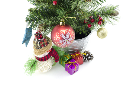 fabrick: closeup image from top view of Christmas decoration with balls and fir branch isolate on white background