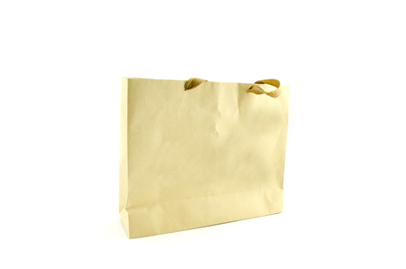 paperbag: brown paper bag with hidden handle isolated on white background