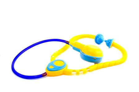 plastic toys: plastic toys Stethoscope isolated on white background