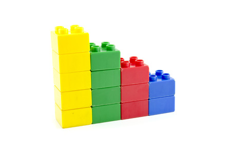 shrinking: Plastic building block steps concept for shrinking achievement isolated on white background