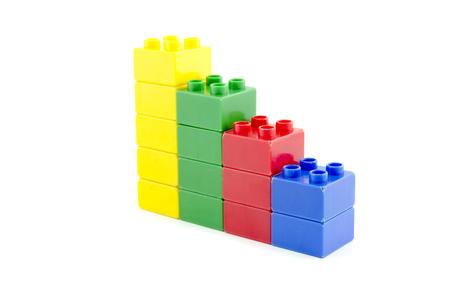 shrinking: colorful stacked plastic building blocks concept for shrinking profit margin isolated on white background