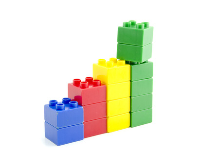 teamwork concept: profit growth concept. plastic building blocks isolated white background