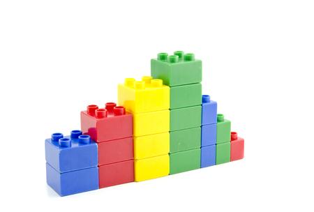 shrinking: business profit shrinking concept.plastic building blocks isolated white background