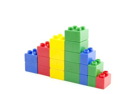 shrinking: failure business shrinking concept.plastic building blocks isolated white background