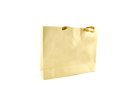 brown paper bag: brown paper bag with hidden handle isolated on white background