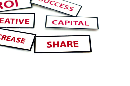 vision loss: business motivation word CAPITAL, and SHARE  printed on paper with red color isolated on white background Stock Photo