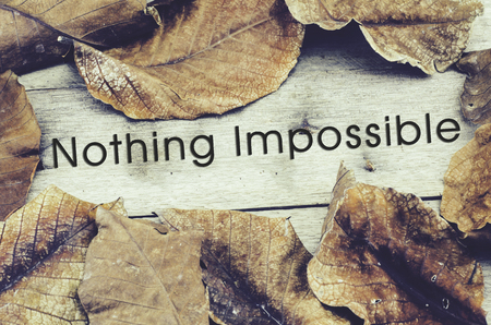nothing: word NOTHING IMPOSSIBLE surrounded by dry leaves .old wooden background and retro look theme Stock Photo