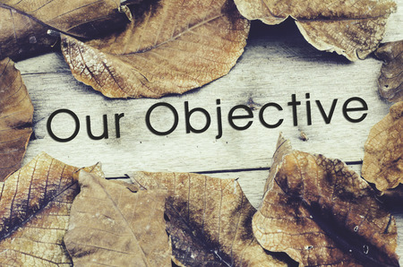 word OUR OBJECTIVE surrounded by dry leaves .old wooden background and retro look theme Stock Photo