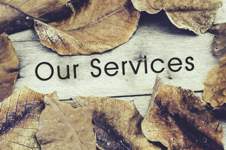 word OUR SERVICES surrounded by dry leaves .old wooden background and retro look theme Stock Photo
