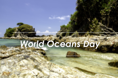 the oceans: image concept with word WORLD OCEANS DAY.blurred background rocky sea view at the beach with island surrounded by clear water and blue sky. Stock Photo