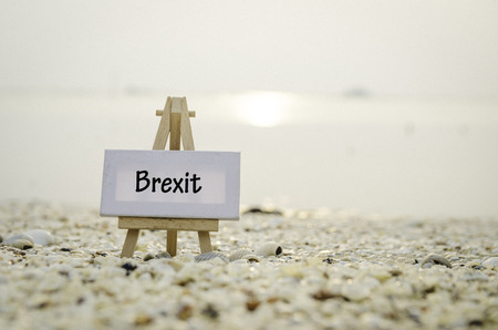 skepticism: white vanvas on wooden easel with word brexit over sunset background. selective and blurred clamshell and sea shell Stock Photo