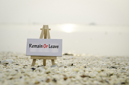 skepticism: white vanvas on wooden easel with word remain or leave over sunset background. selective and blurred clamshell and sea shell Stock Photo