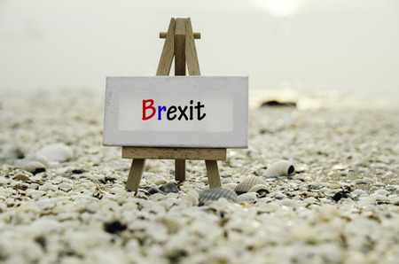 yes or no to euro: white vanvas on wooden easel with word brexit over sunset background. selective and blurred clamshell and sea shell Stock Photo