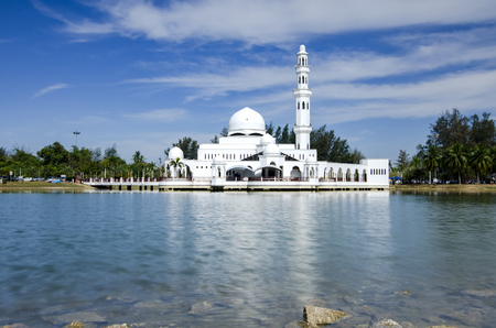 Beautiful nature and reflection on water, most iconic floating mosque in Malaysia surrounded by lake