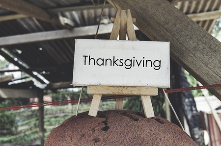 thanks giving: concept image, word THANKS GIVING on cropped red buoy over blurred background. wooden hut with faded color tone effect Stock Photo