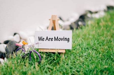 """conceptual image with word """"we are moving"""" over blurred image and retro look ,handcrafted bicycle made from colorfull wired. white canvas frame on wooden easel and green grass"""