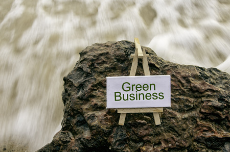 moss: Image concept, word GREEN BUSINESS on white canvas frame with wooden tripod.background motion blur white wave flow hitting wet and mossy rock on the beach.