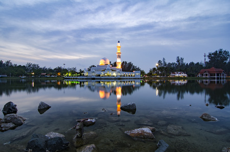 islamic wonderful: silhouette image of iconic floating mosque in Terengganu, Malaysia. Stock Photo