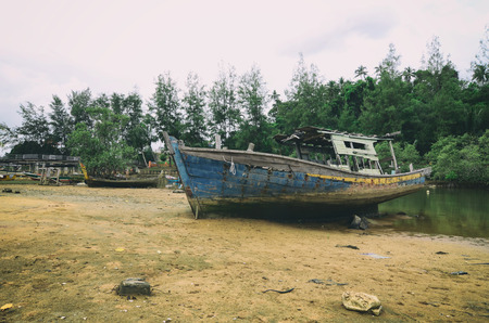 castaway: wooden shipwreck stranded on sandy beach. cloudy sky and green tree background
