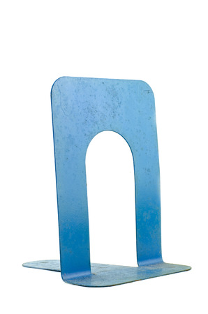 meta: dirty and rusty meta book stand or book end isolated on white background Stock Photo