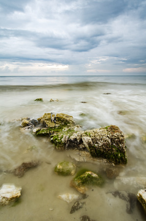 beautiful green algae on the stone at the beach during low tide water. sunlight and dark clouds. wave lapping and clear water Stock Photo