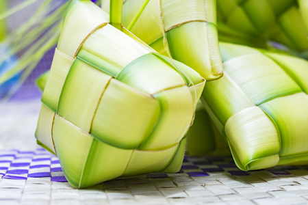 Ketupat or rice dumpling is Malaysian most iconic delicacy dish during eid mubarak.Natural rice wrapped with young coconut leave.