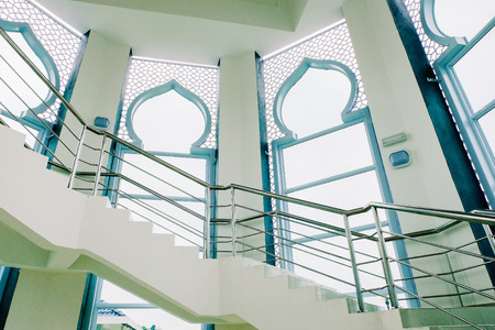 Close Up Shot,spiral Stairway And Stainless Hand Railing Of Modern Building  Stock Photo
