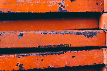 closed up stacks of rusty stainless rectangular pipe bar background.faded effect and selective focus