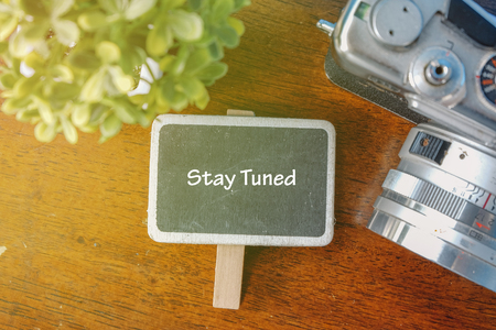 STAY TUNED word concept.top view signage, artificial plant and vintage camera on wooden table Stock Photo