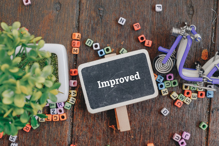 improved: Advertising and marketing concept image, word IMPROVED over top view flat lay signage and artificial green plant on wooden background