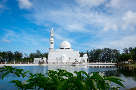 The beautiful nature and reflection of Tengku Tengah Zaharah Mosque, most iconic floating mosque located at Terengganu Malaysia.