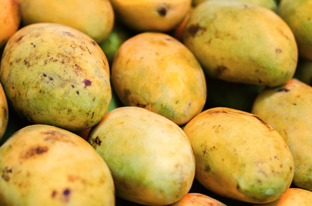 famous industries: selective focus shot,fresh mangoes in the market