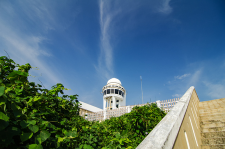 Observatory telescope tower station over blue sky background located at Port Dickson, Malaysia Stock Photo