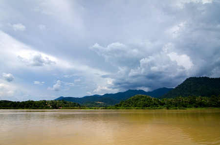 Beautiful countryside scenery, Sungai Perak river bank located in Perak State,Malaysia  at sunny day