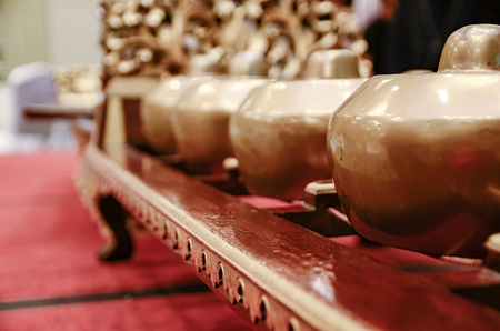 Malaysian traditional music instrument called Gamelan. selective focus shot Stock Photo