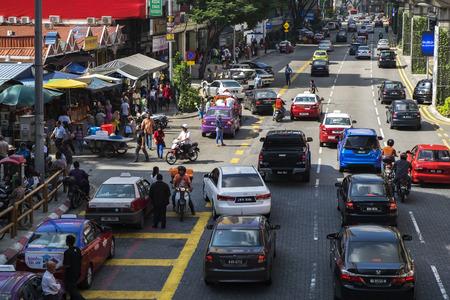 KUALA LUMPUR, MALAYSIA - APRIL 9, 2017: Heavy traffic around Kuala Lumpur downtown in the morning