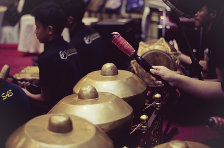 KUALA LUMPUR, MALAYSIA 12 JULY 2017: Group of Malaysian performing Gamelan Orchestra on hotel stage.Gamelan is traditional malay music instrument.