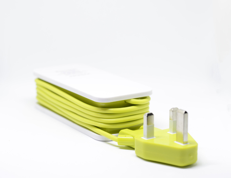 hardware: portable charger on white background ideal for travel item