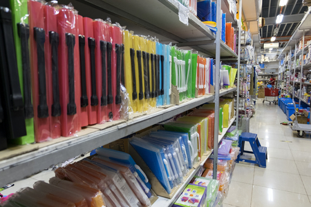 Colorful Plastic file for documents In the stationery store.