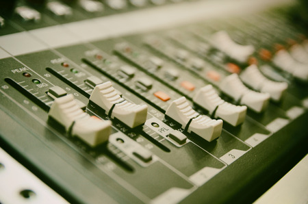 Selective focus professional audio mixing console panel.technology and entertainment concept Stock Photo