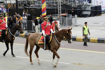 KUALA LUMPUR, MALAYSIA - 29 August 2017 : Malaysian Royal Armoured Corps during the full rehearsal for Malaysian Independence Day celebration. Editorial