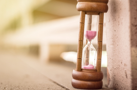 hourglass or sand-glass for time management and history concept Stock Photo