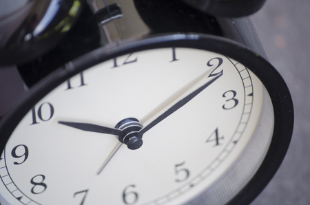 paciencia: Cropped and closeup  vintage alarm clock for time management concept