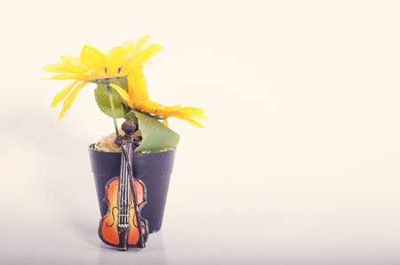 Music passion and hobby concept, violin miniature with artificial flower plant on reflection white table.negative space for text Stock Photo