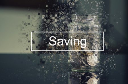 SAVING word over coin in glass jar with pixelated effect for financial concept background